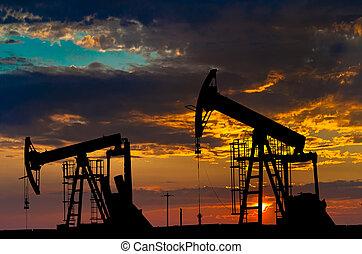 industrie, olie, equipment., pumps.