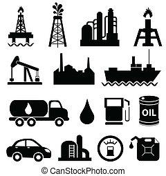 industrie, olie, set, pictogram