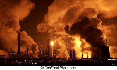 industrie, rook, nacht