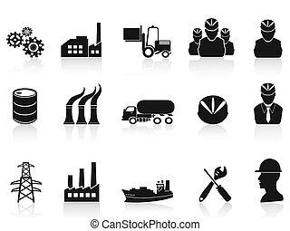 industrie, set, black , iconen