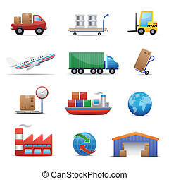 industrie, set, logistiek, pictogram, &