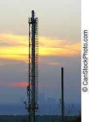 industriebedrijven, ondergaande zon , landscape