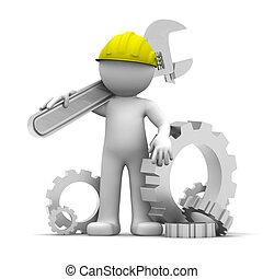 industrieele werker, moersleutel, 3d