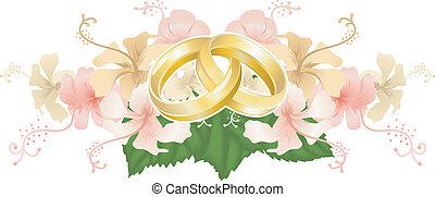 ineengestrengelde, ringen, hibiscus, trouwfeest, ontwerp