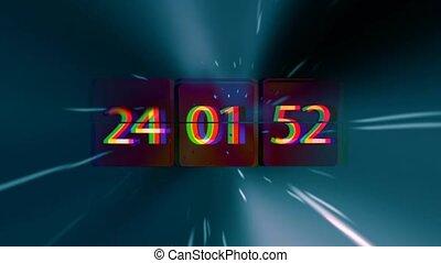 infinitely, verbuiging, clock., chaotisch, vasten, tijd, space., grunge, concept, verhuizing