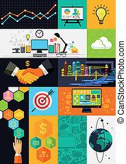 infographic, plat, layered, -, illustratie, symbolen, vector, ontwerp, icons.