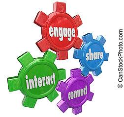 informatie, aannemen, werk op elkaar in, aandeel, verbinden, woorden, toestellen
