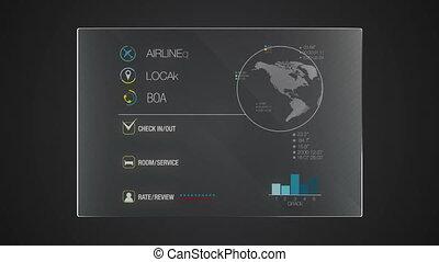 informatie, grafisch, record', 'hotel', toepassing, gebruiker, digitale , interface, technologie, display, paneel