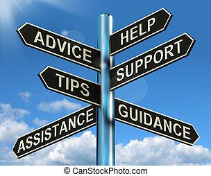 informatie, helpen, wegwijzer, raad, steun, tips, leiding, optredens