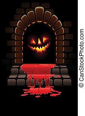 ingang, deur, halloween, verschrikkelijk, bloedig, gloeiend, gezicht