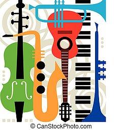 instrumenten, abstract, vector, muziek