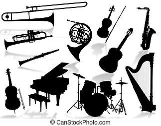 instrumenten, muzikalisch, silho