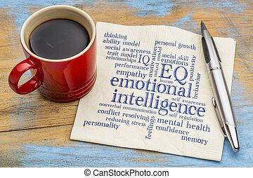 intelligentie, emotioneel, woord, wolk, (eq)