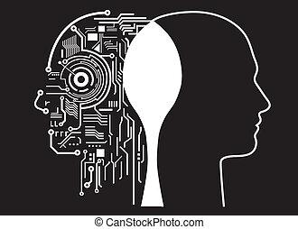 intelligentie, fusie, menselijk