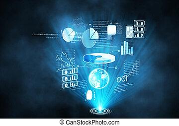 interface, futuristisch, technologie