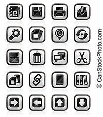 interface, iconen, internet