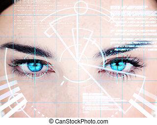 interface, vrouw, eyed, blauwe