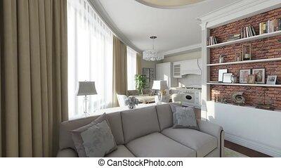 interieur, flytrough, huiselijk, kamer