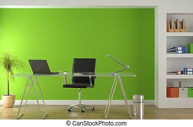 interieur, groene, moderne, ontwerp, kantoor