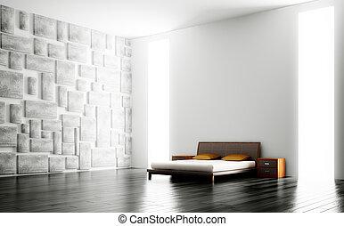 interieur, moderne, slaapkamer, 3d