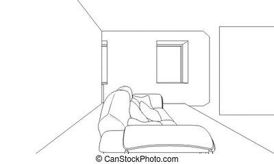 interieur, wireframe, creatie, classieke