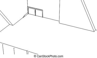interieur, wireframe, creatie, kantoor