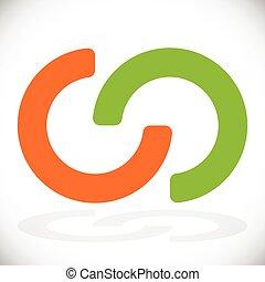 interlocking, abstract, ringen, integratie, verbinding, cirkels, symbiose, pictogram