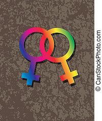 interlocking, geslacht, illustratie, symbolen, vrouwlijk, lesbische