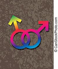 interlocking, vrolijk, geslacht, illustratie, symbolen, mannelijke