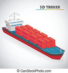isometric, container, 3d, illustratie, vector, vracht, tanker, pictogram