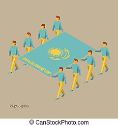 isometric, houden, kazakhstan., bearers., groot, infographic., mensen, vlag, illustratie, standaard, eenvoudig, team., vector, acht, sportende, kazakh, 3d