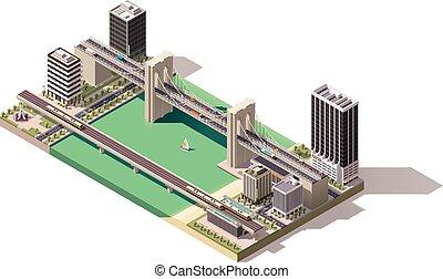isometric, kaart, vector, stad