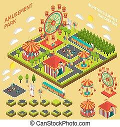 isometric, schepper, vermakelijkheid park, kaart, samenstelling