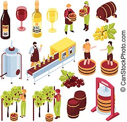 isometric, set, winery