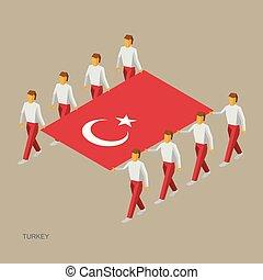 isometric, sportende, turkse , bearers., groot, infographic., mensen, vlag, illustratie, standaard, eenvoudig, team., vector, acht, houden, turkey., 3d