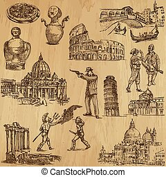 italië, reizen, -, hand, getrokken, troep