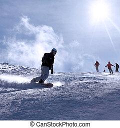italië, vakantiepark, snowboarden, ski, man