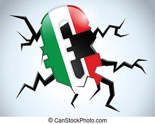 italië, vloer, geld, vlag, barst, crisis, eurobiljet