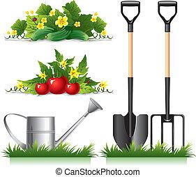 items, tuinieren, verwant