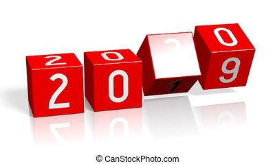 jaar, nieuw, veranderen, 2019/2020, concept