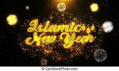 jaar, ontploffing, tekst, particles., vuurwerk, wensen, display, nieuw, islamitisch