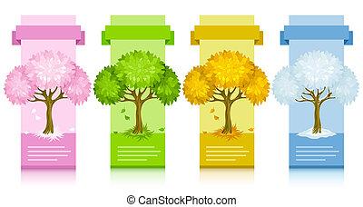 jaargetijden, anders, set, boompje, banieren