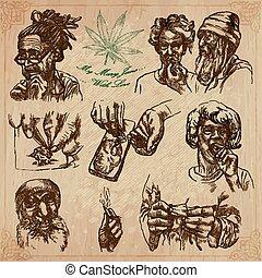 jamaica, reizen, -, hand, vector, getrokken, troep
