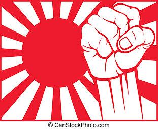 japan, (flag, japan), fist