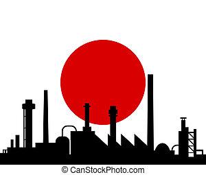 japan, industrie, vlag