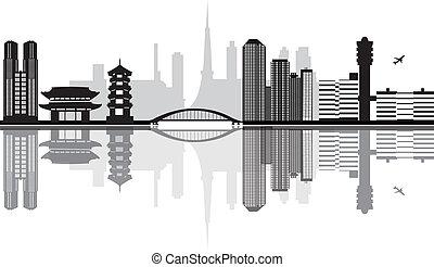 japan, skyline, luchthaven, tokio