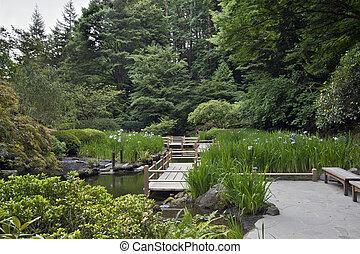 japanner, brug, zig, tuin, zag