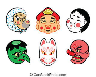 japanner, maskers, komisch