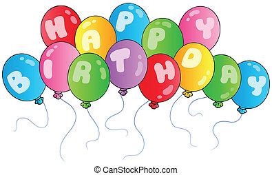 jarig, ballons, vrolijke