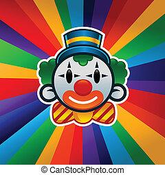 jarig, kleurrijke, clown